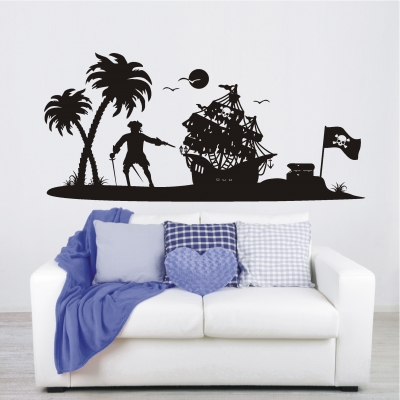 deko shop wandtattoo piraten insel piratenschiff deko shop. Black Bedroom Furniture Sets. Home Design Ideas