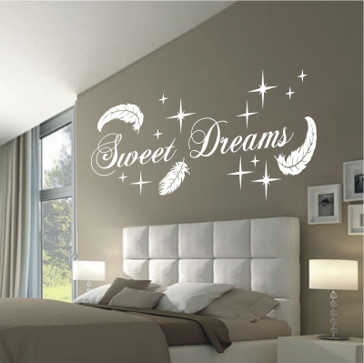 Deko Shop Wandtattoo Sweet Dreams Federn Deko Shop