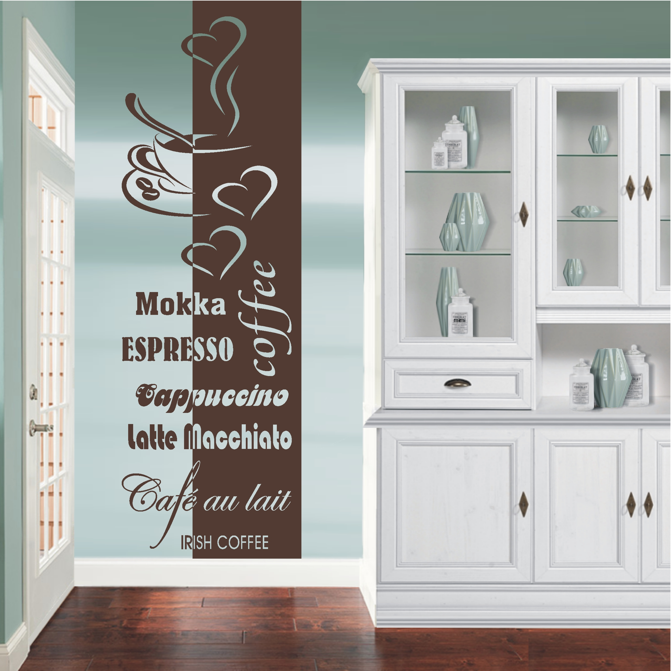 deko shop wandtattoo banner coffee cappucino deko shop. Black Bedroom Furniture Sets. Home Design Ideas