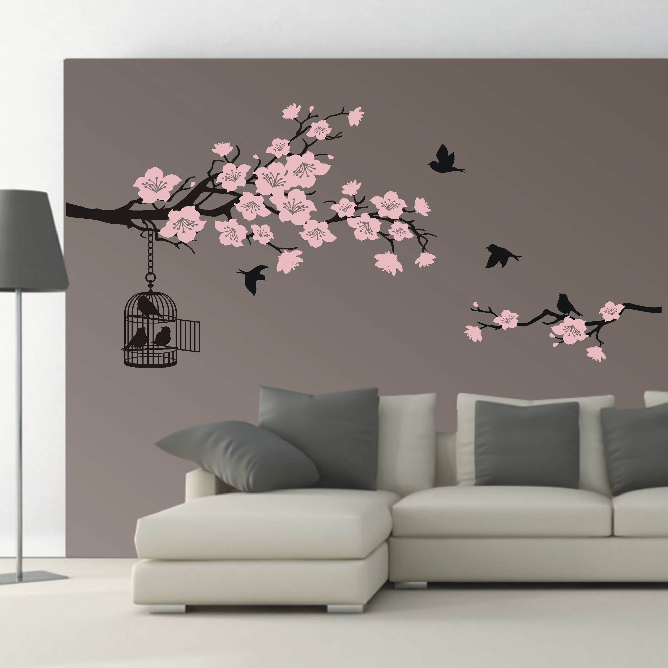 deko shop wandtattoo kirschbl ten ast 2 farbig deko shop. Black Bedroom Furniture Sets. Home Design Ideas