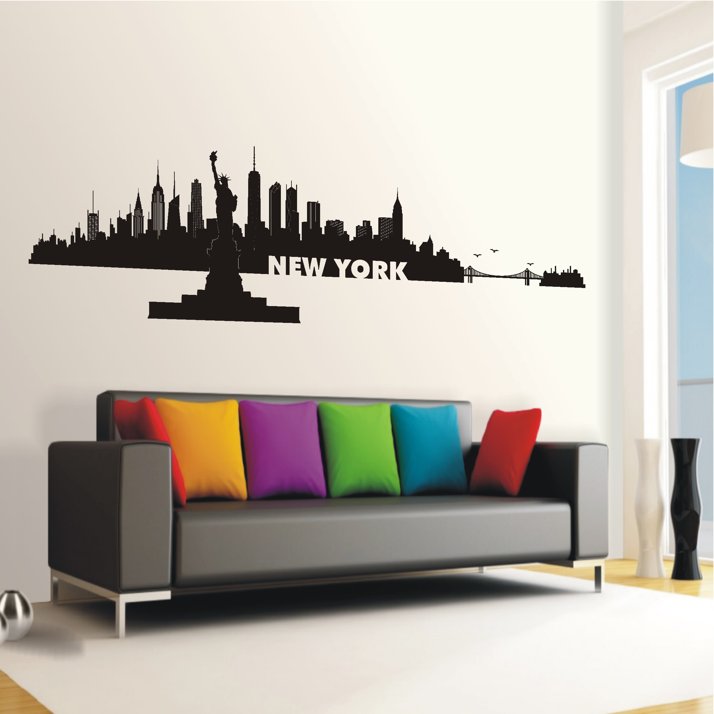 deko shop wandtattoo skyline new york deko shop. Black Bedroom Furniture Sets. Home Design Ideas