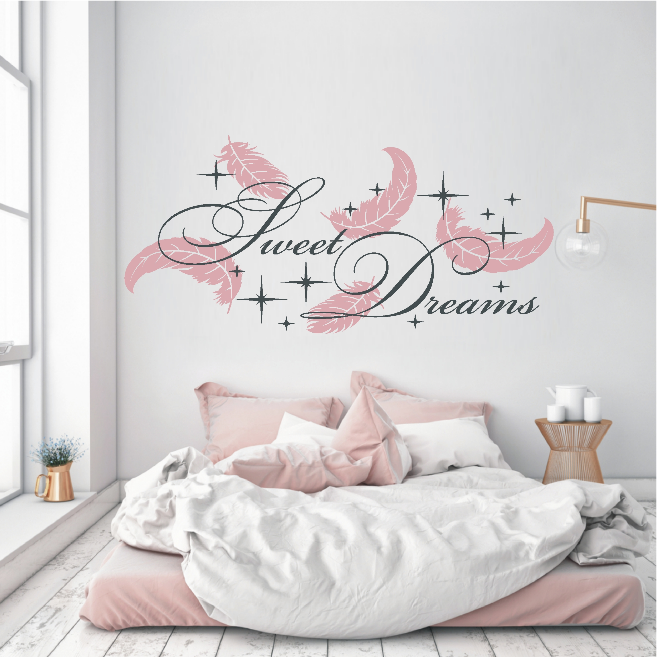deko shop wandtattoo sweet dreams federn 2 farbig. Black Bedroom Furniture Sets. Home Design Ideas