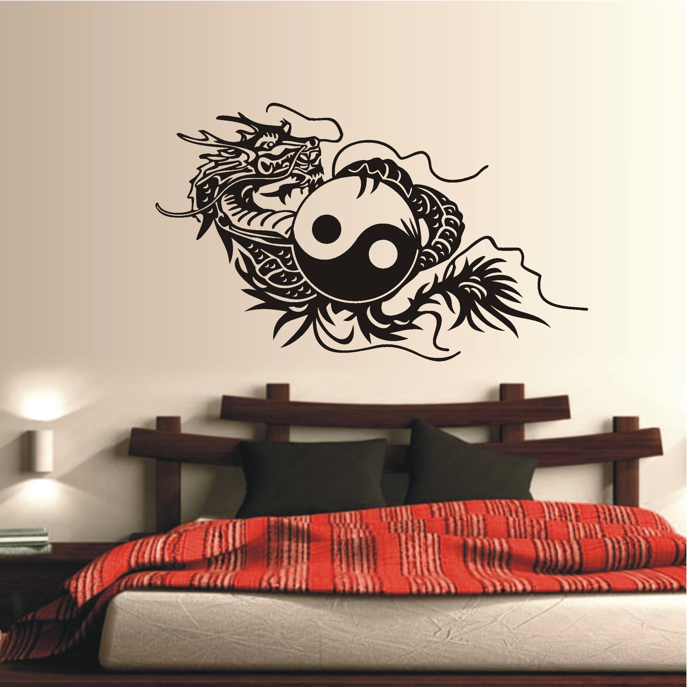 deko shop wandtattoo yin yang drache deko shop. Black Bedroom Furniture Sets. Home Design Ideas