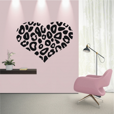 deko shop wandtattoo leopard herz deko shop. Black Bedroom Furniture Sets. Home Design Ideas