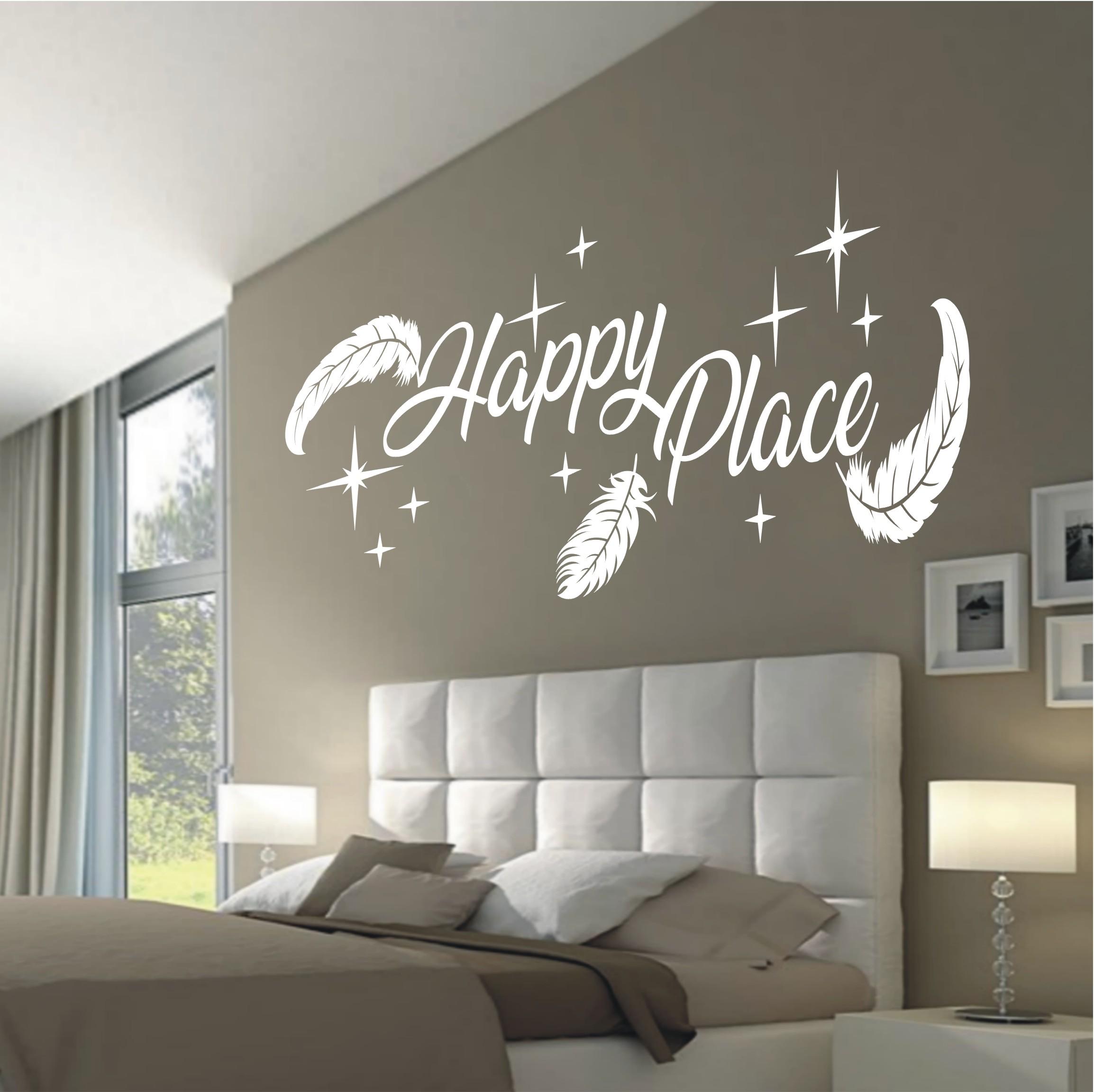 deko shop wandtattoo happy place federn 804. Black Bedroom Furniture Sets. Home Design Ideas