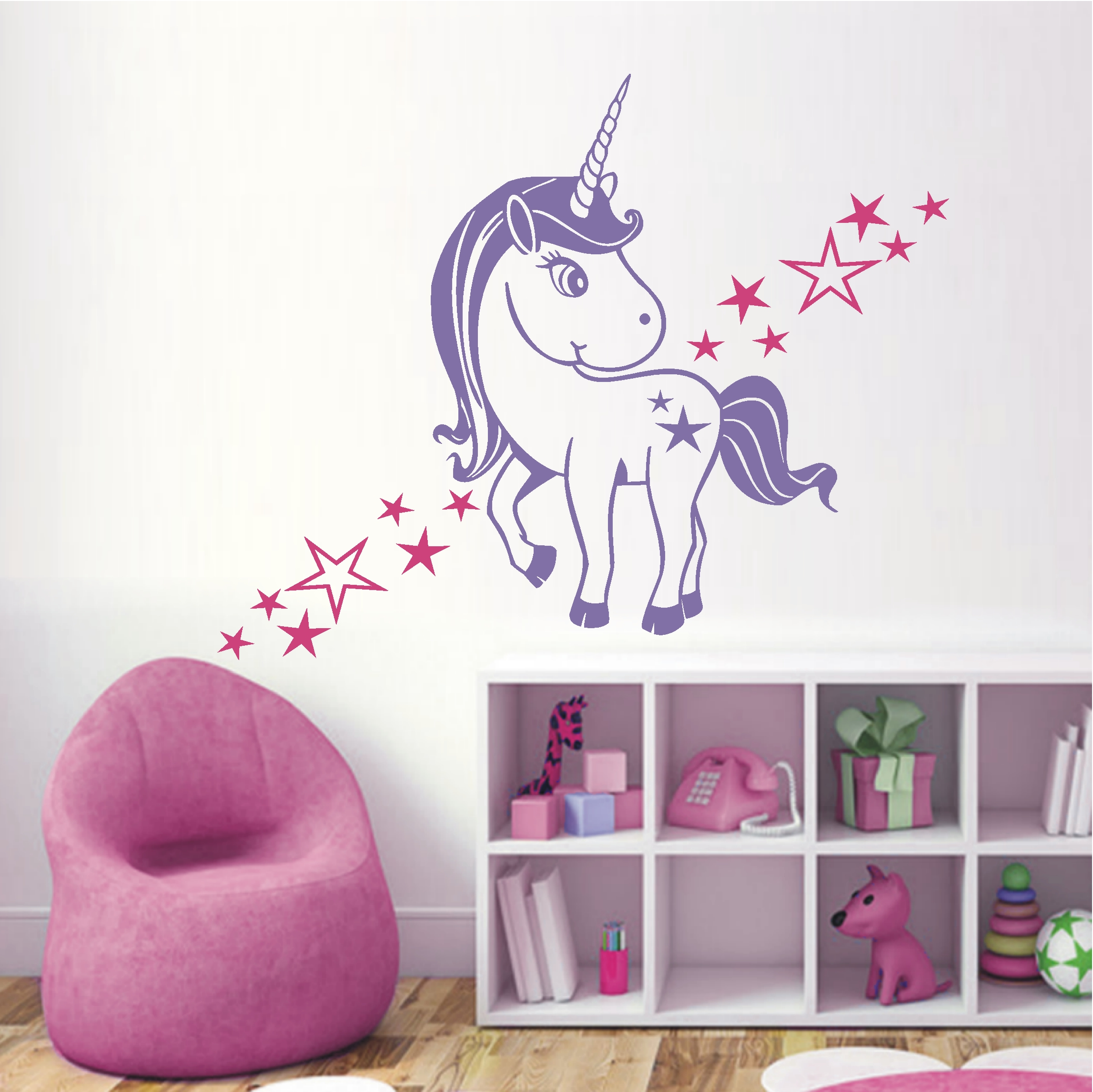 deko shop wandtattoo baby einhorn 2 farbig deko shop. Black Bedroom Furniture Sets. Home Design Ideas