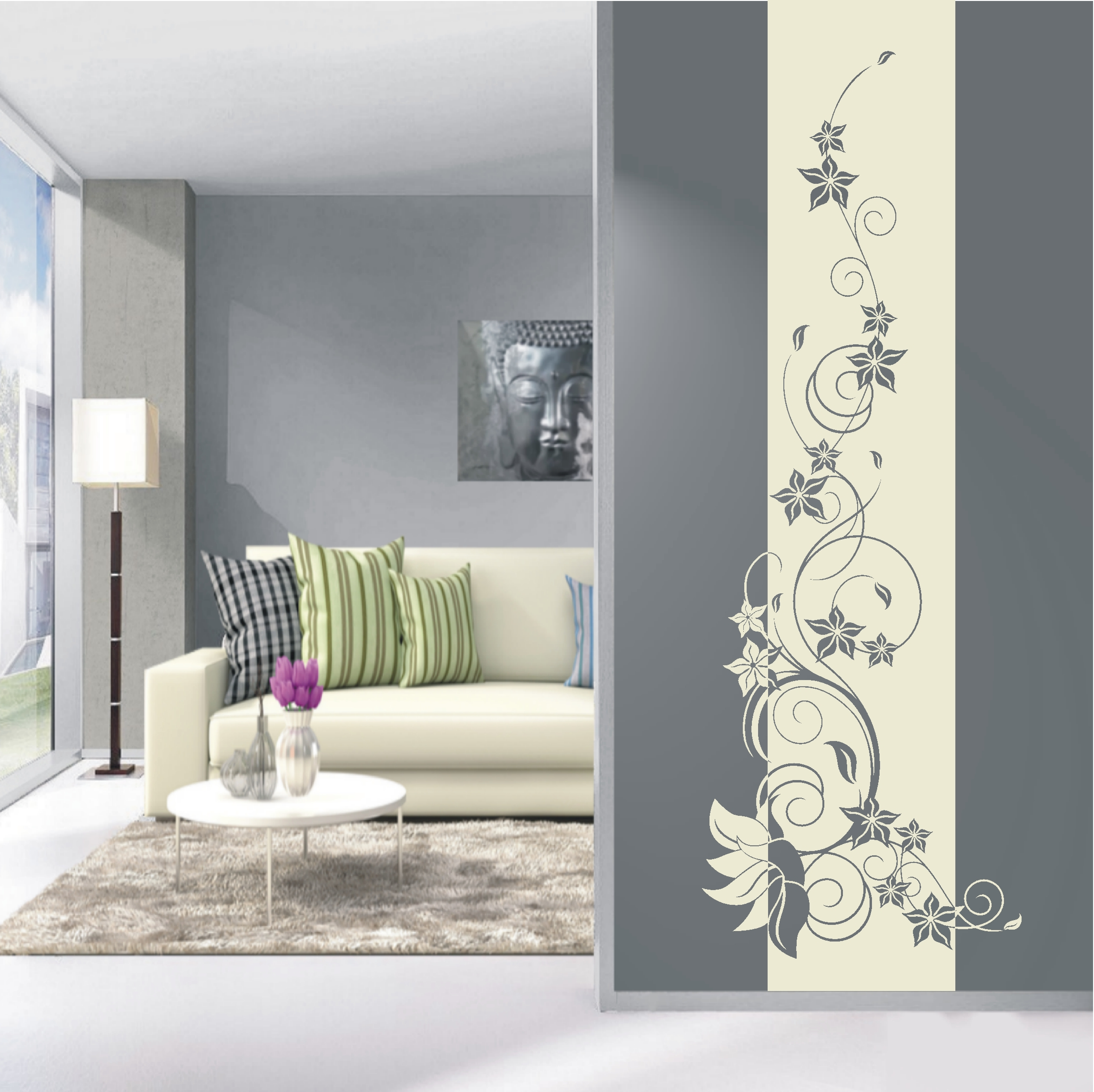 deko shop wandtattoo banner blumenranke deko shop. Black Bedroom Furniture Sets. Home Design Ideas