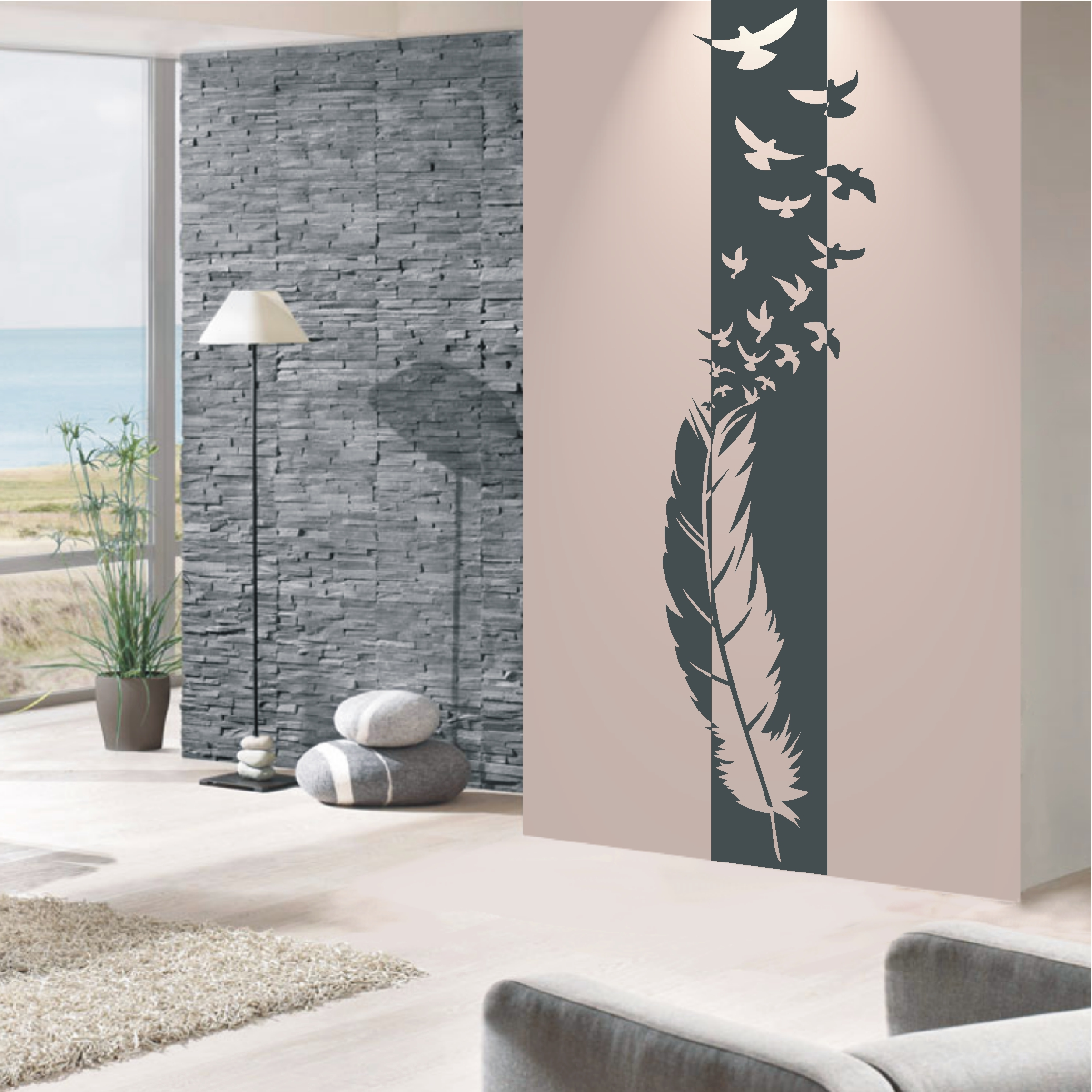 deko shop wandtattoo banner feder deko shop. Black Bedroom Furniture Sets. Home Design Ideas