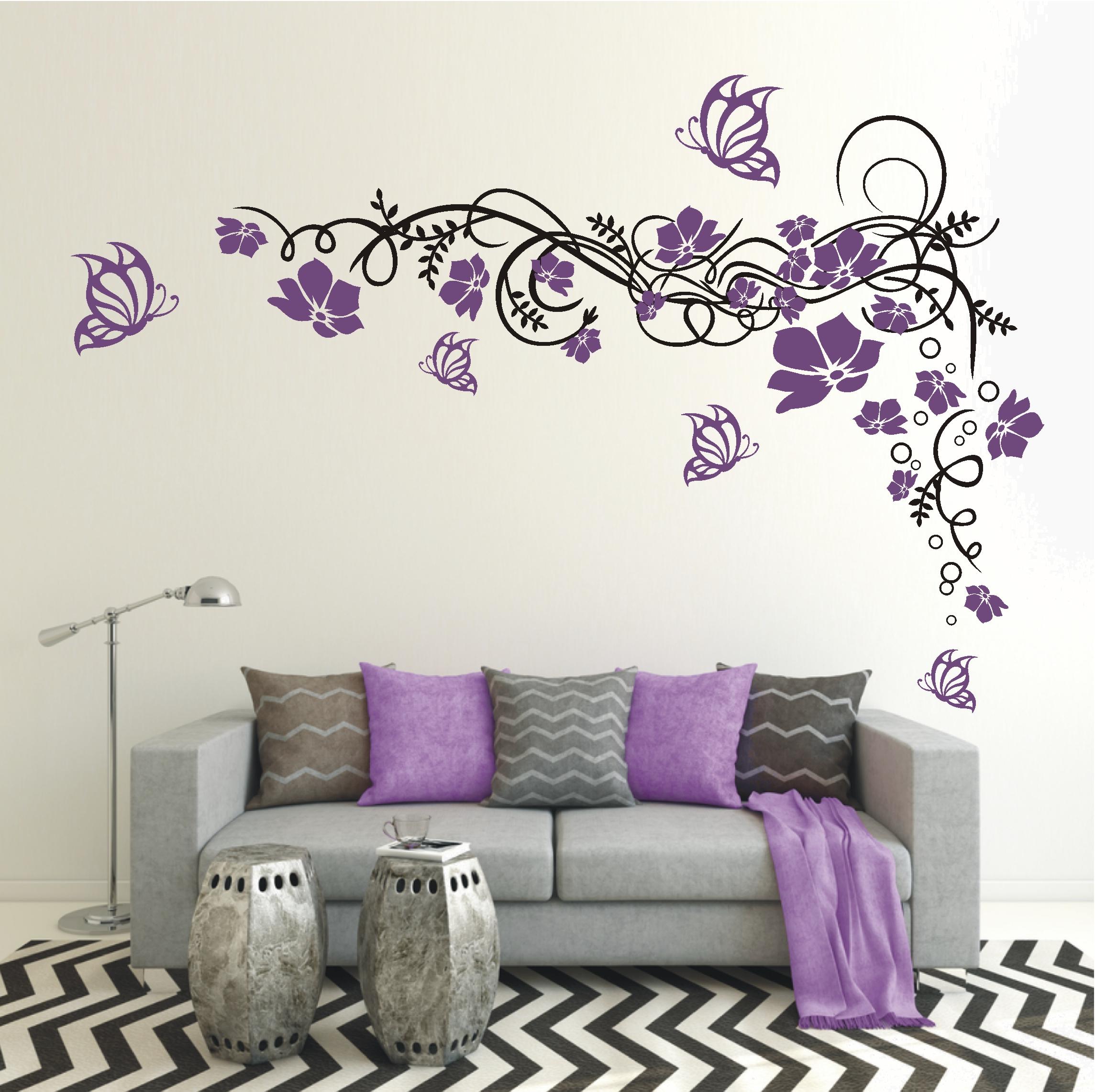 deko shop wandtattoo blumenranke 2 farbig deko shop. Black Bedroom Furniture Sets. Home Design Ideas