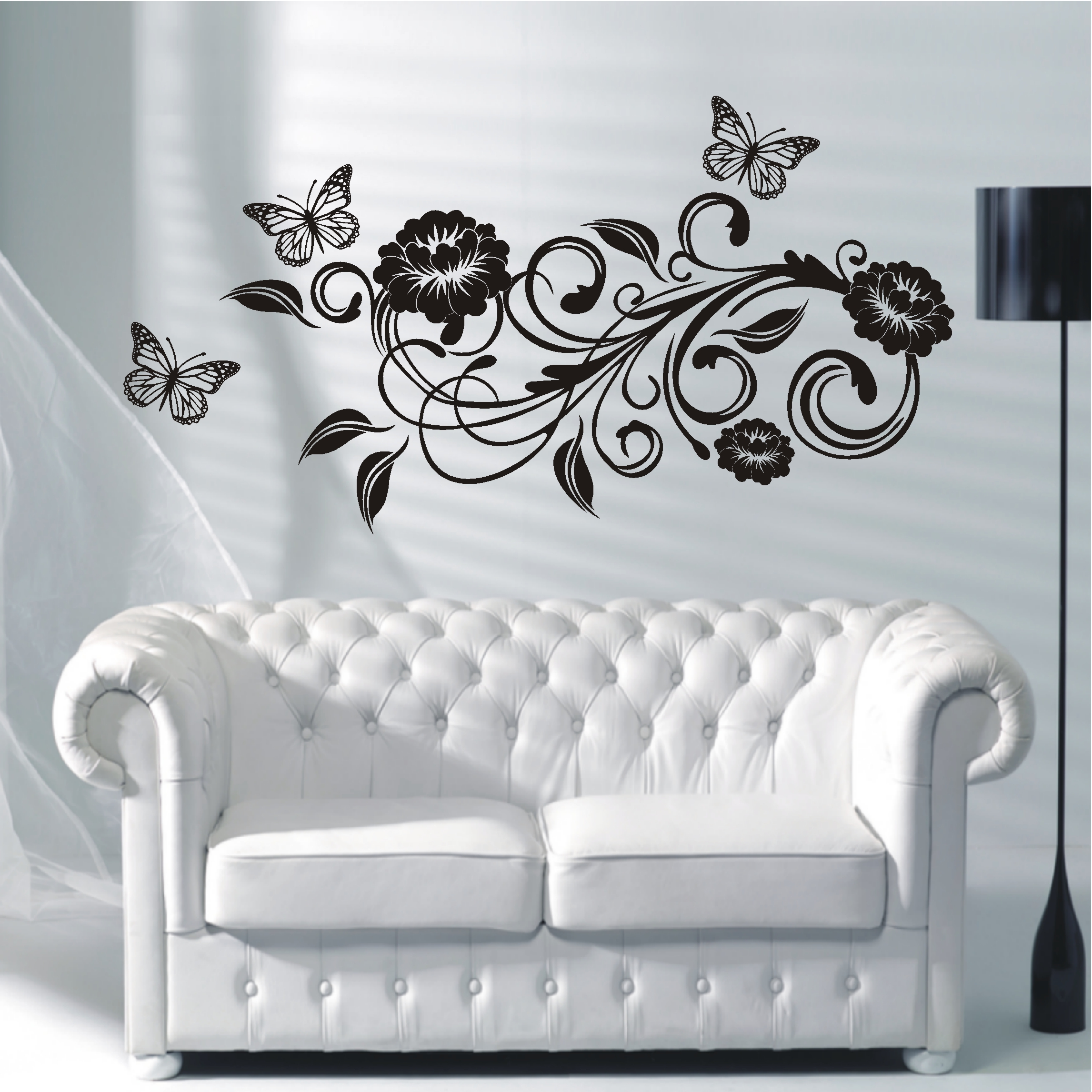 deko shop wandtattoo blumenranke deko shop. Black Bedroom Furniture Sets. Home Design Ideas