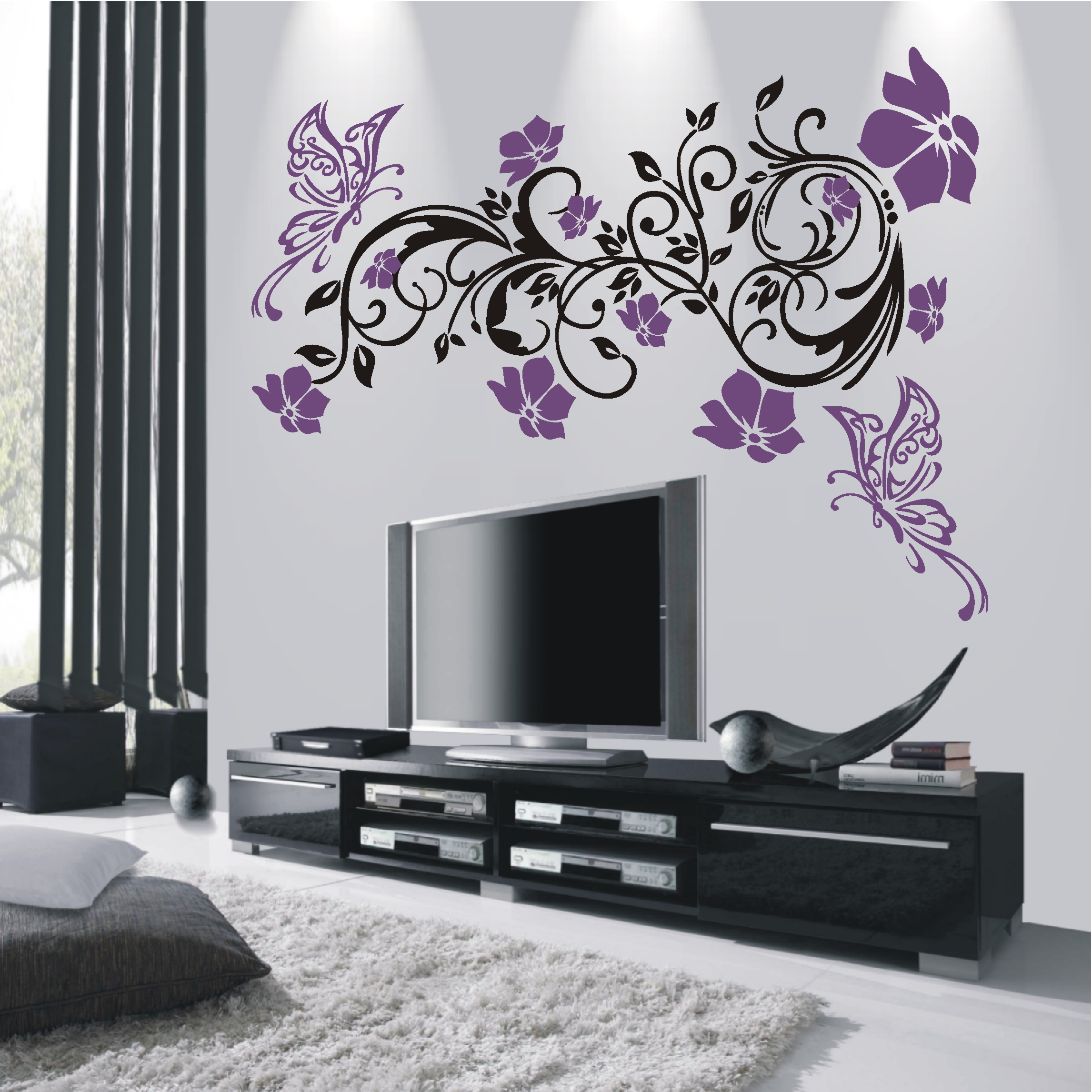 deko shop wandtattoo hibiskus ranke 2 farbig deko shop. Black Bedroom Furniture Sets. Home Design Ideas