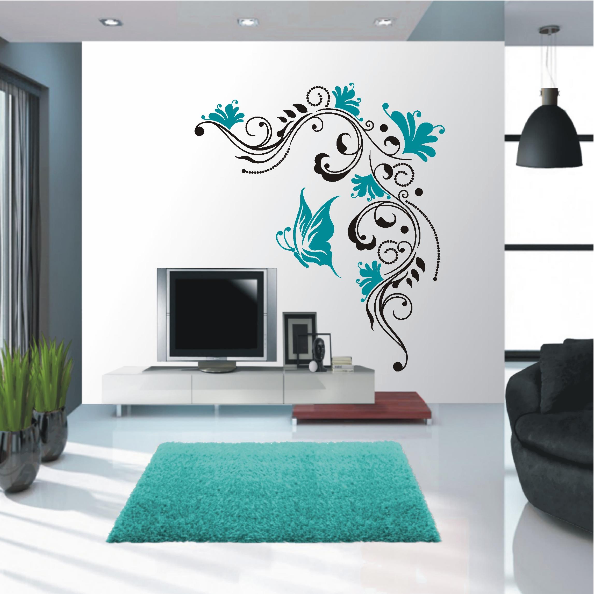 deko shop wandtattoo blumenranke 2 farbig deko. Black Bedroom Furniture Sets. Home Design Ideas