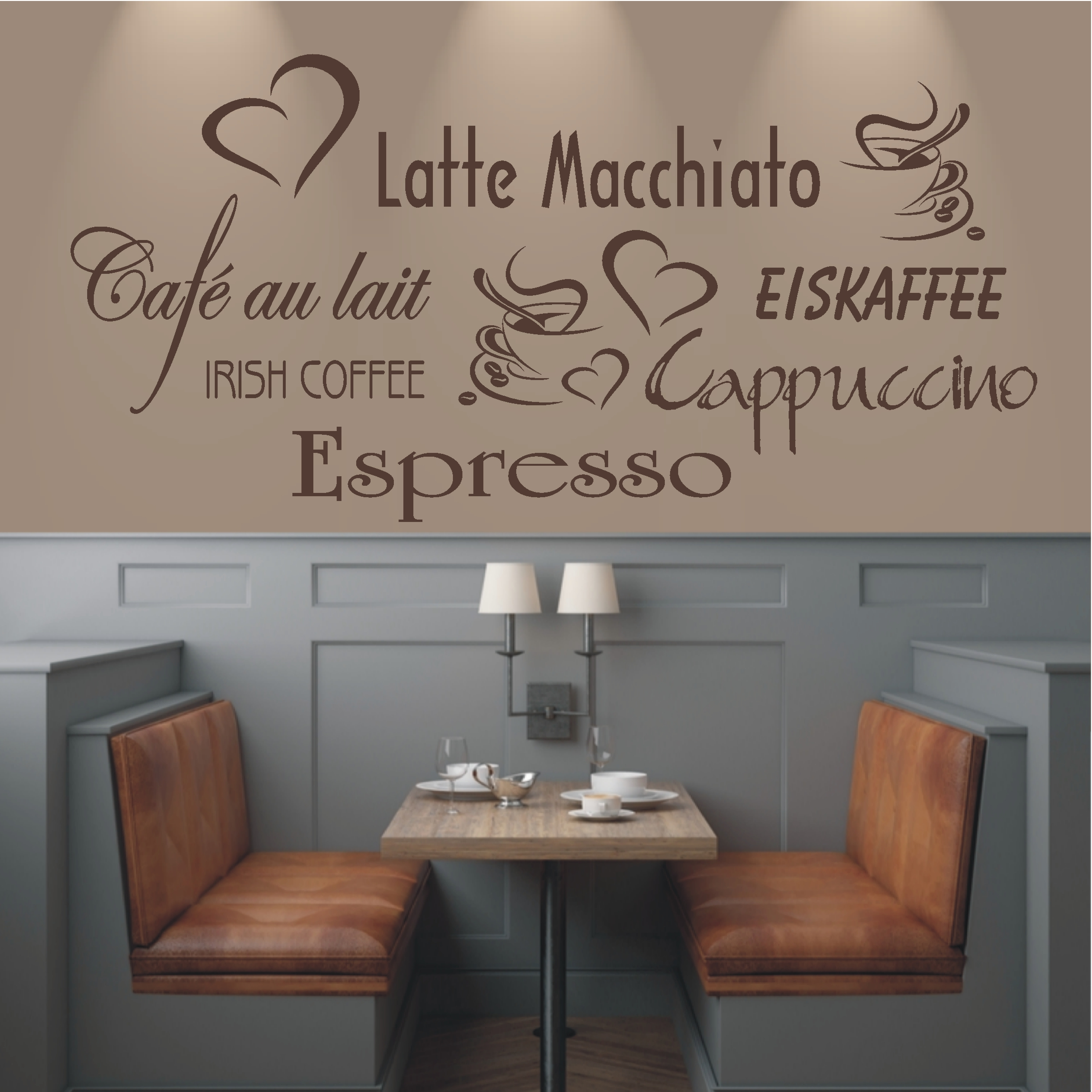 deko shop wandtattoo cappucino espresso latte deko shop. Black Bedroom Furniture Sets. Home Design Ideas