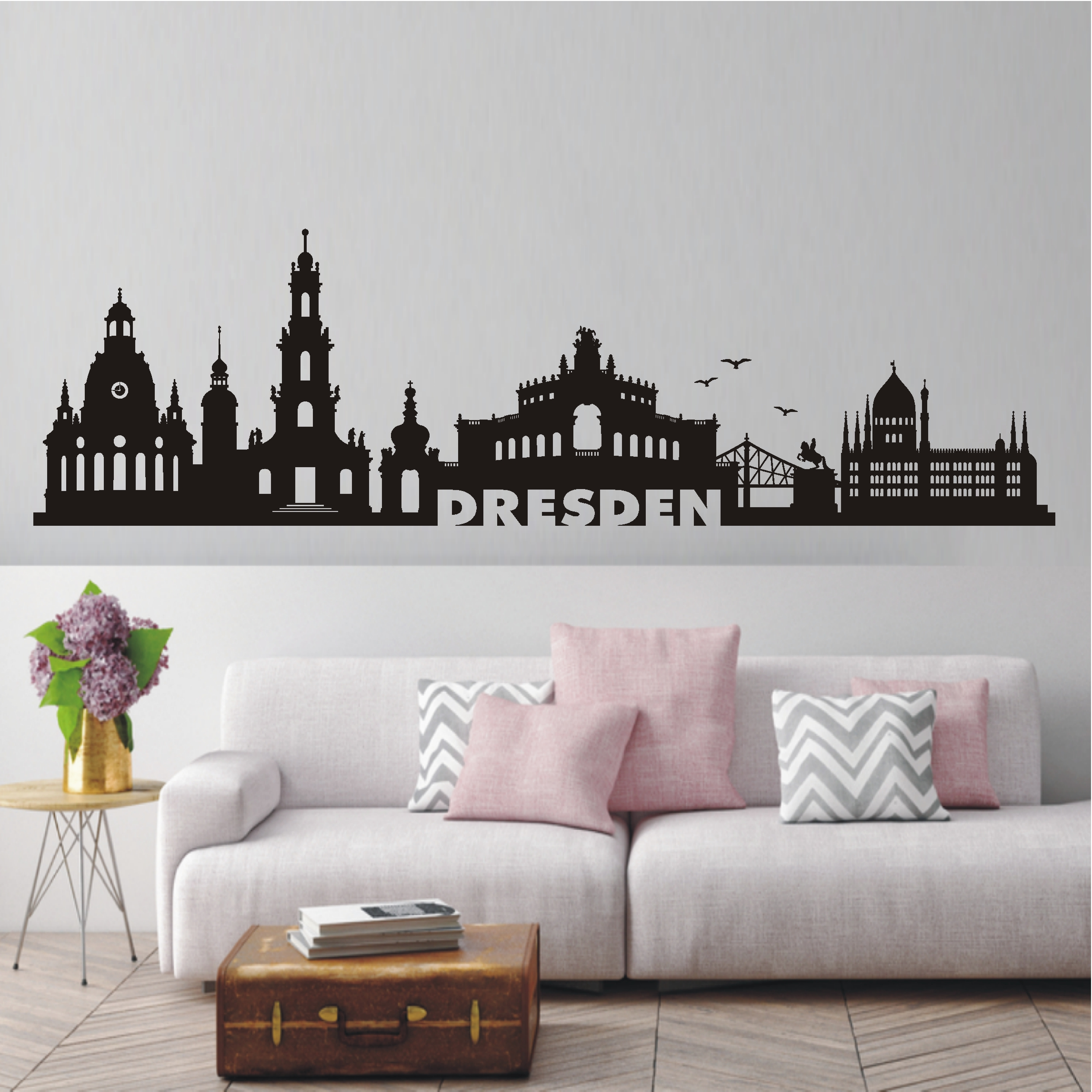 deko shop wandtattoo skyline dresden deko shop. Black Bedroom Furniture Sets. Home Design Ideas