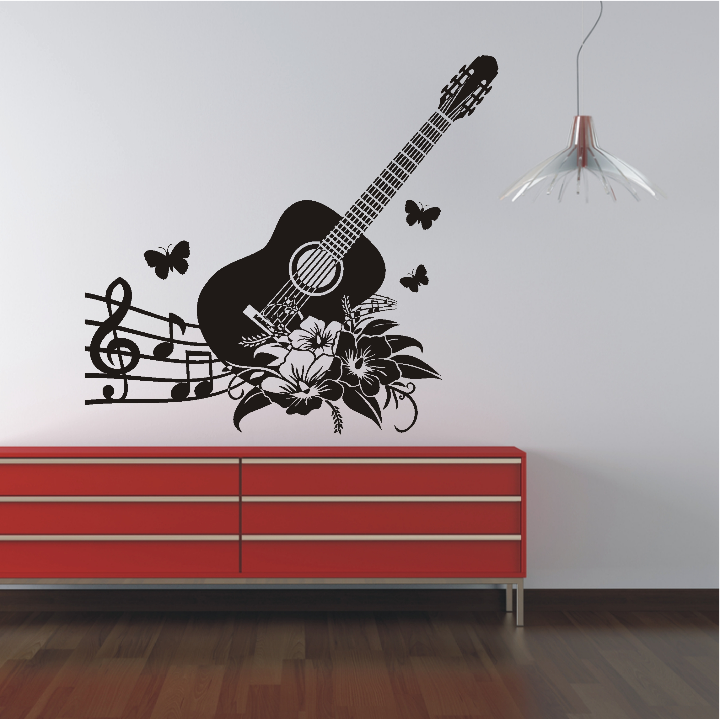 deko shop wandtattoo gitarre mit noten deko shop. Black Bedroom Furniture Sets. Home Design Ideas