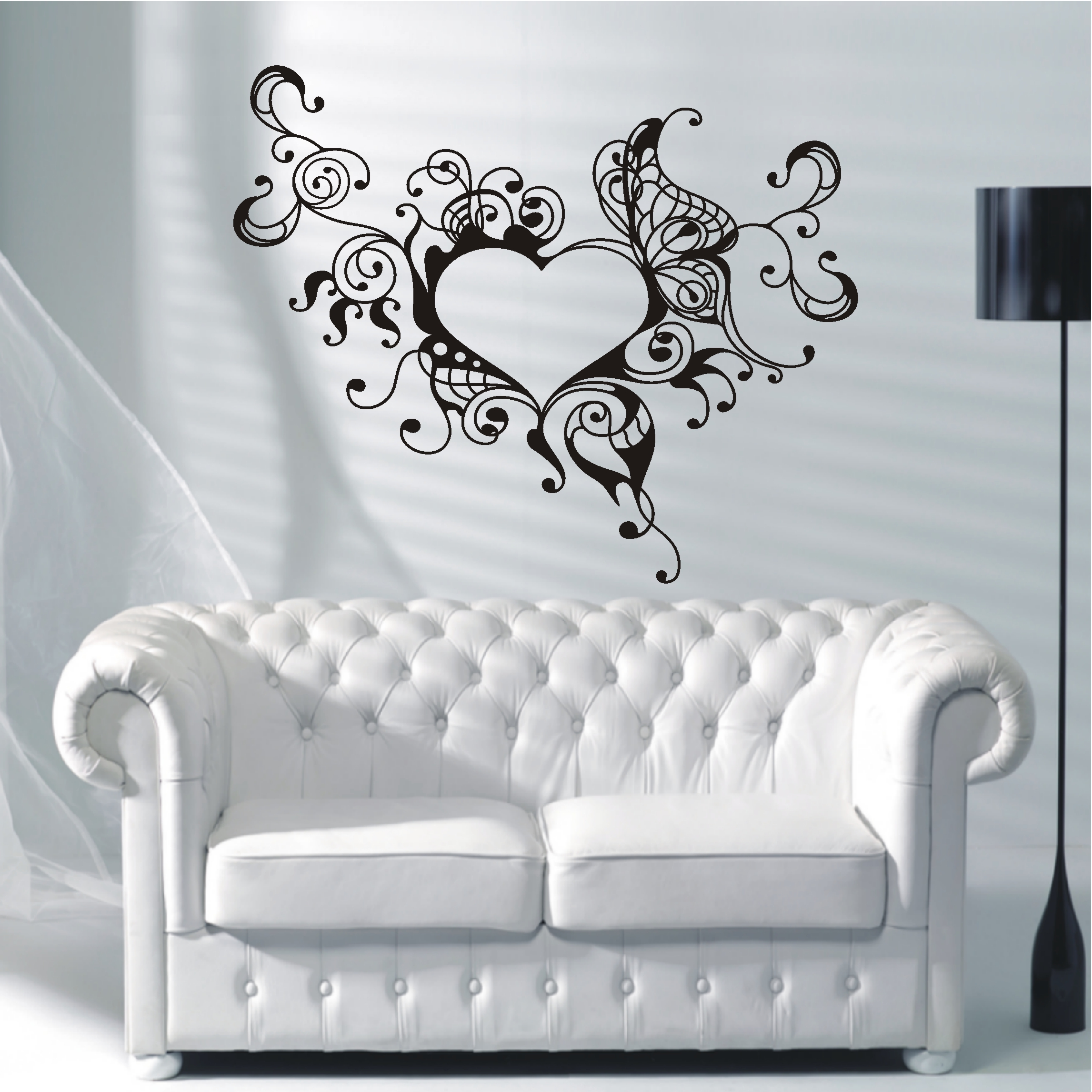 wandtattoo herz mit fl geln reuniecollegenoetsele. Black Bedroom Furniture Sets. Home Design Ideas