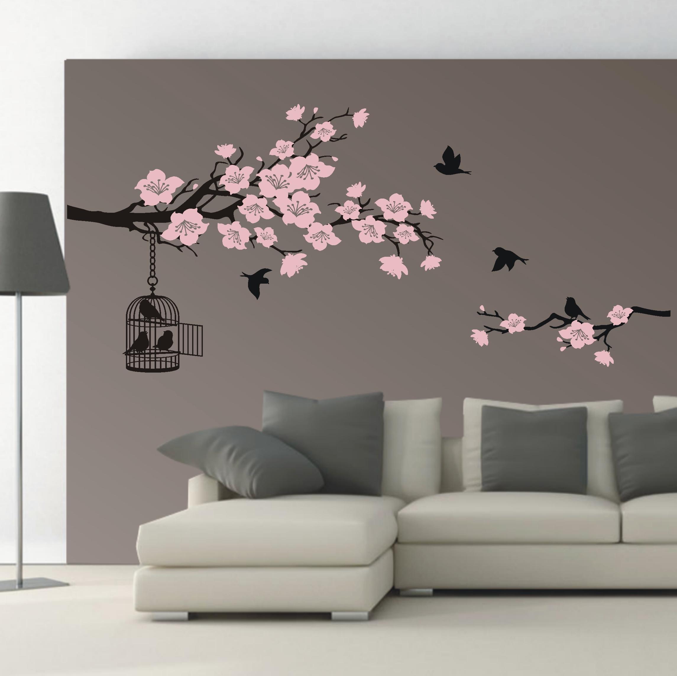 deko shop wandtattoo kirschbl ten ast 2 farbig. Black Bedroom Furniture Sets. Home Design Ideas