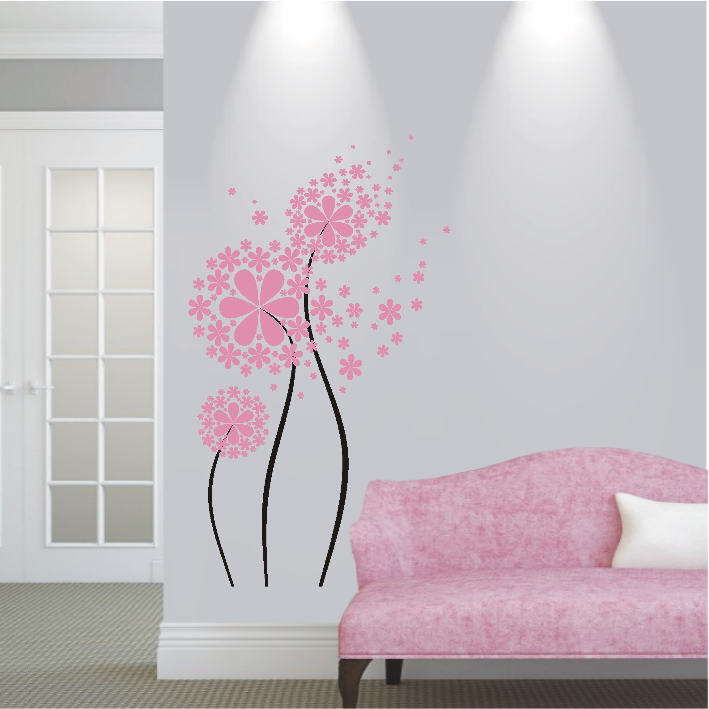 deko shop wandtattoo pusteblume 2 farbig deko shop. Black Bedroom Furniture Sets. Home Design Ideas