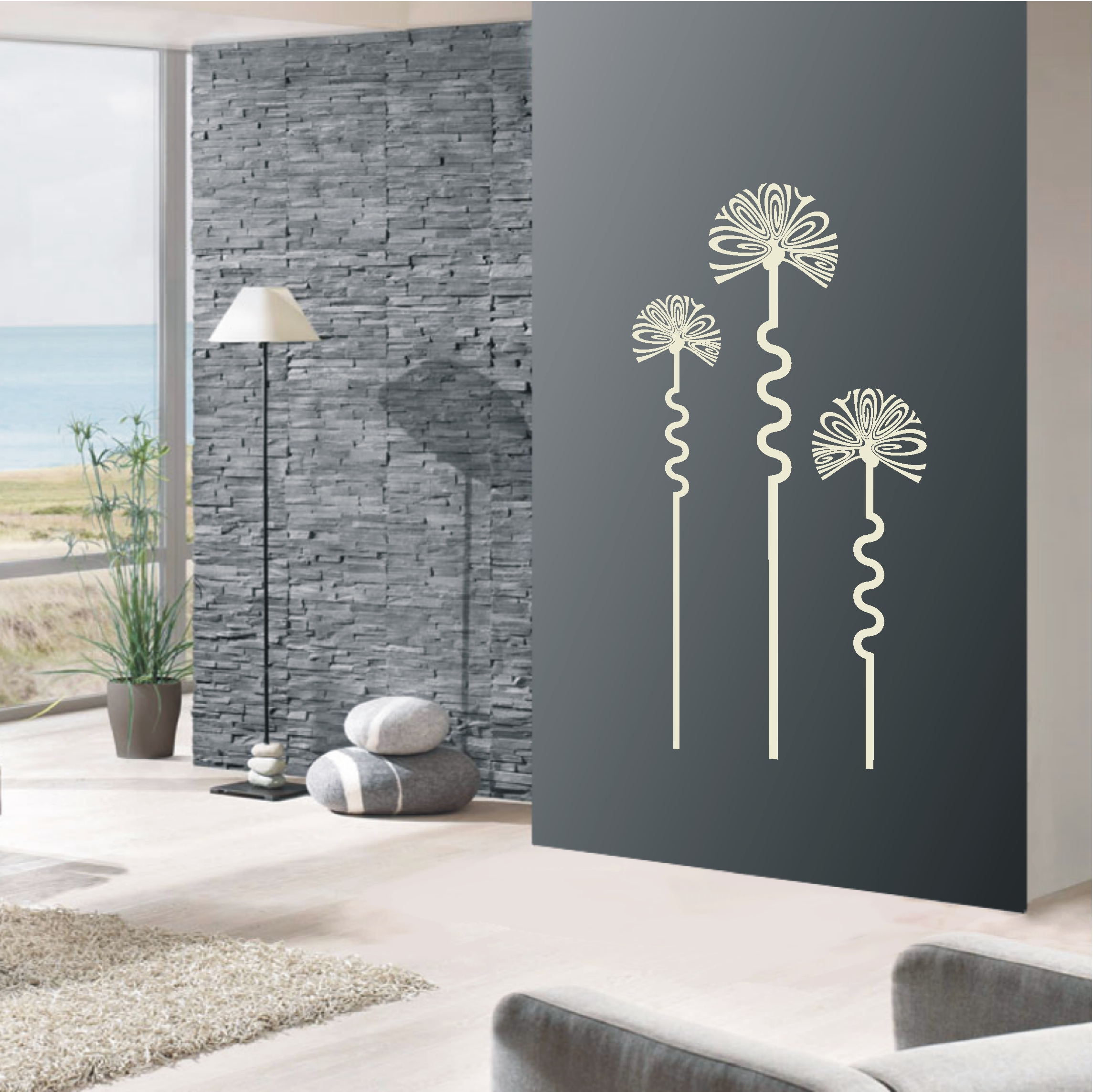 deko shop wandtattoo retro blumen deko shop. Black Bedroom Furniture Sets. Home Design Ideas