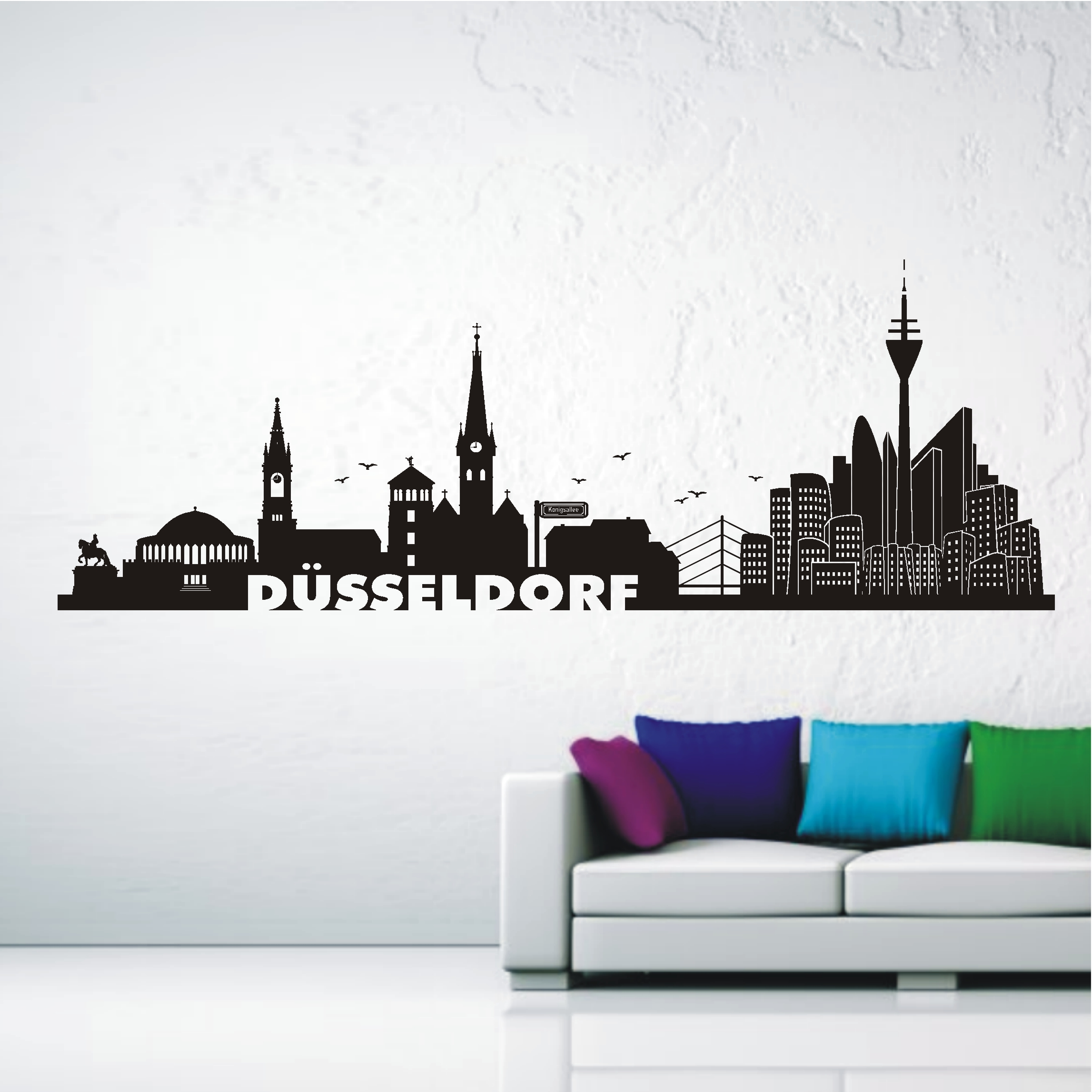 deko shop wandtattoo skyline d sseldorf deko shop. Black Bedroom Furniture Sets. Home Design Ideas