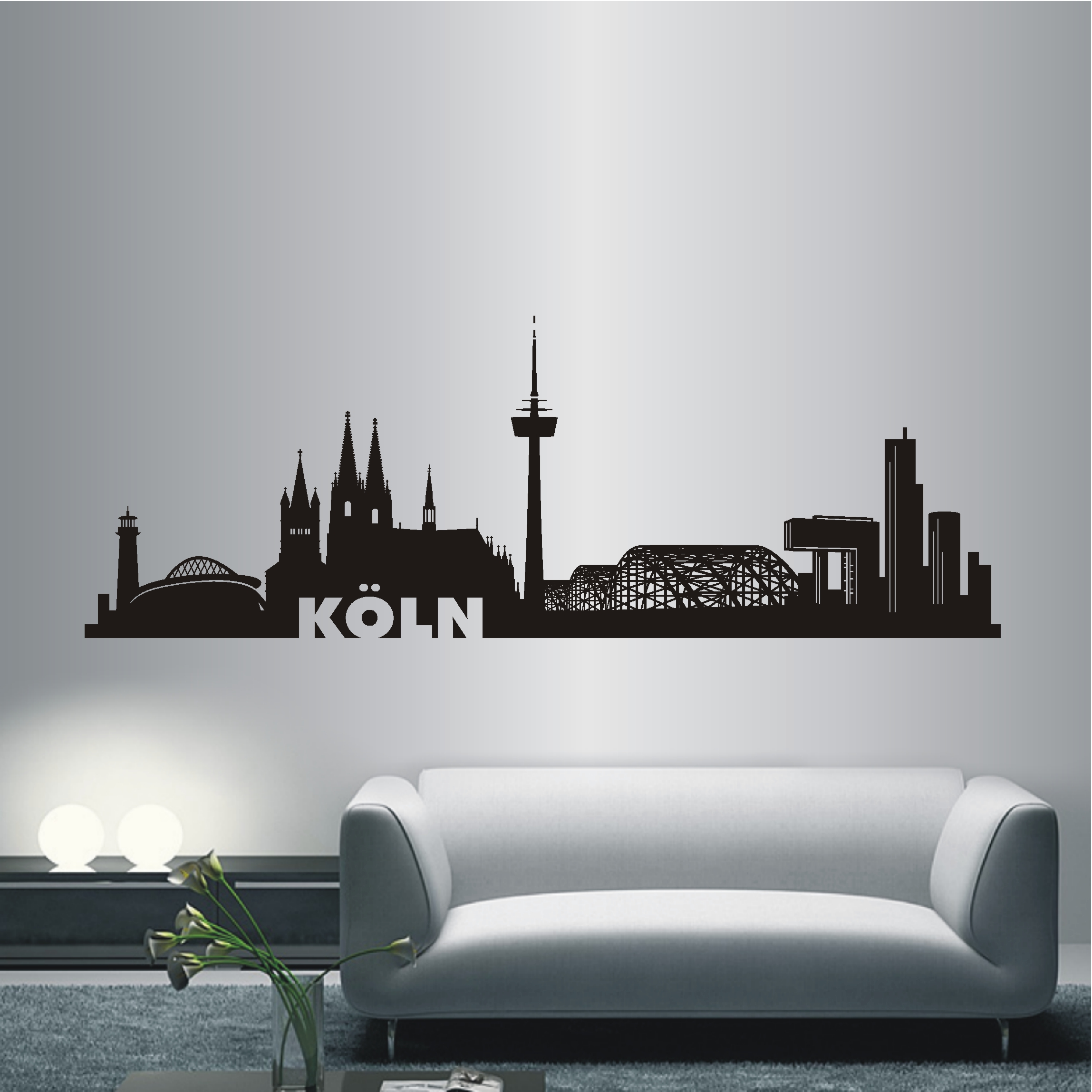 deko shop wandtattoo skyline k ln deko shop. Black Bedroom Furniture Sets. Home Design Ideas