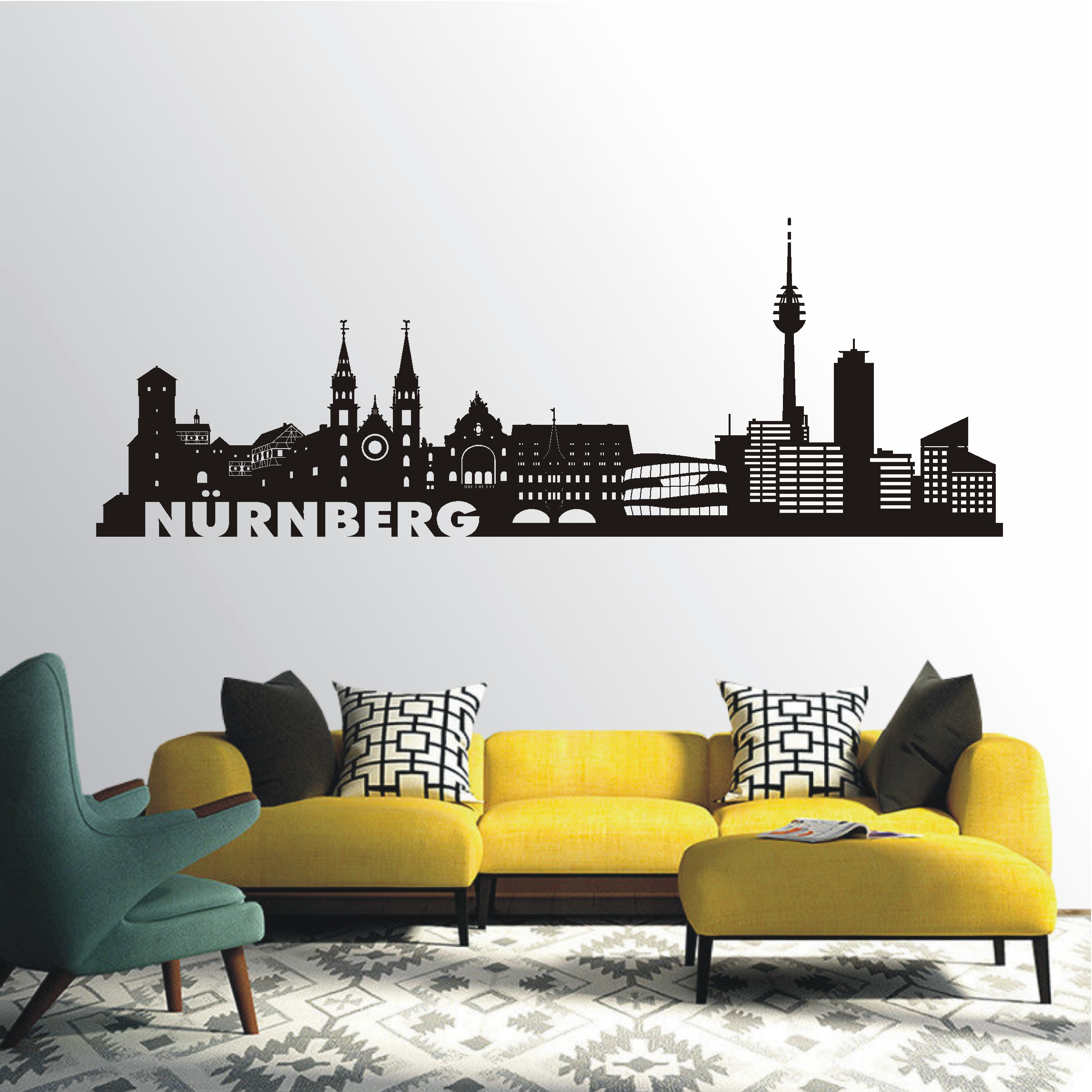 deko shop wandtattoo skyline n rnberg deko shop. Black Bedroom Furniture Sets. Home Design Ideas