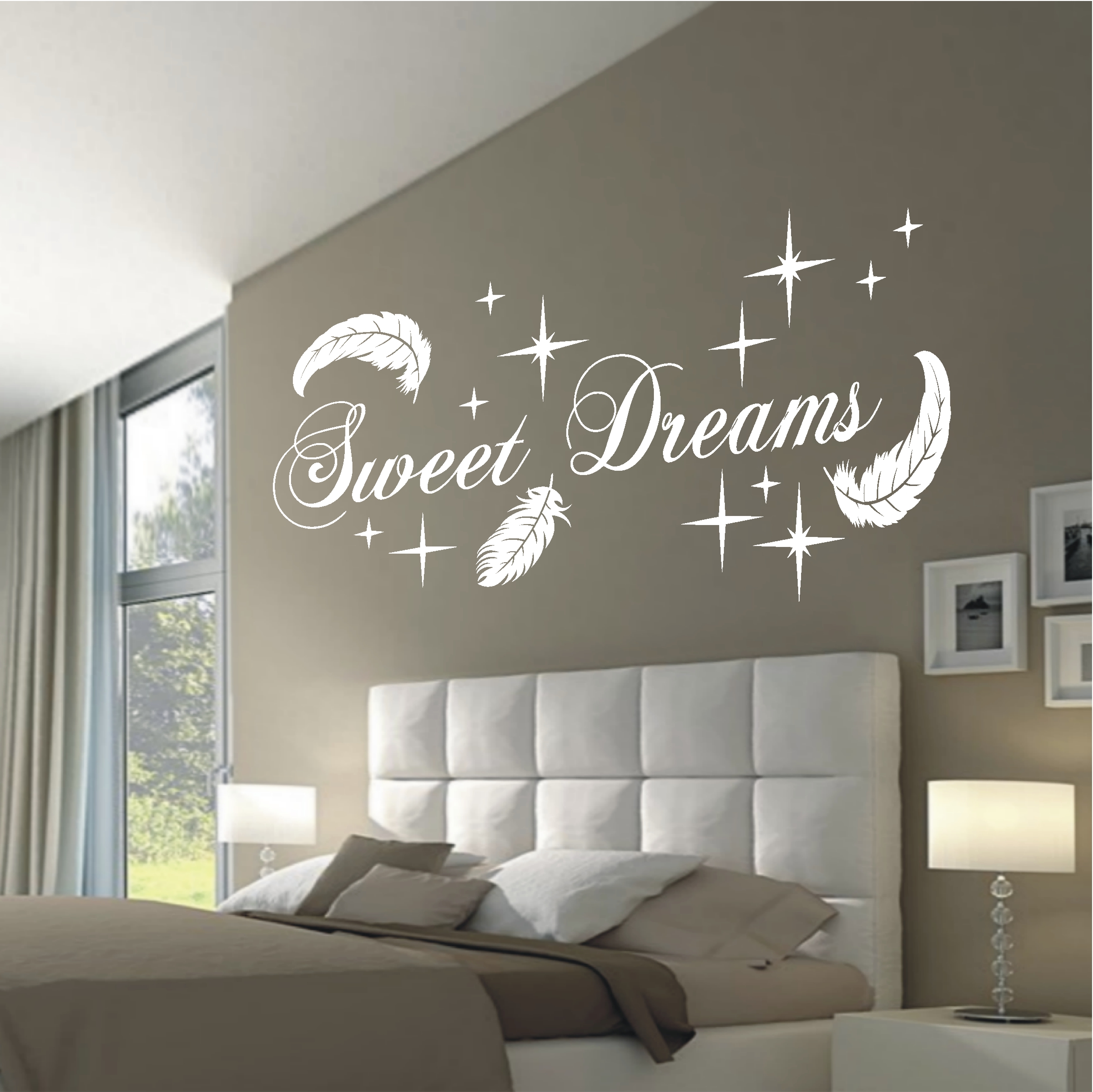 deko shop wandtattoo sweet dreams federn deko shop. Black Bedroom Furniture Sets. Home Design Ideas