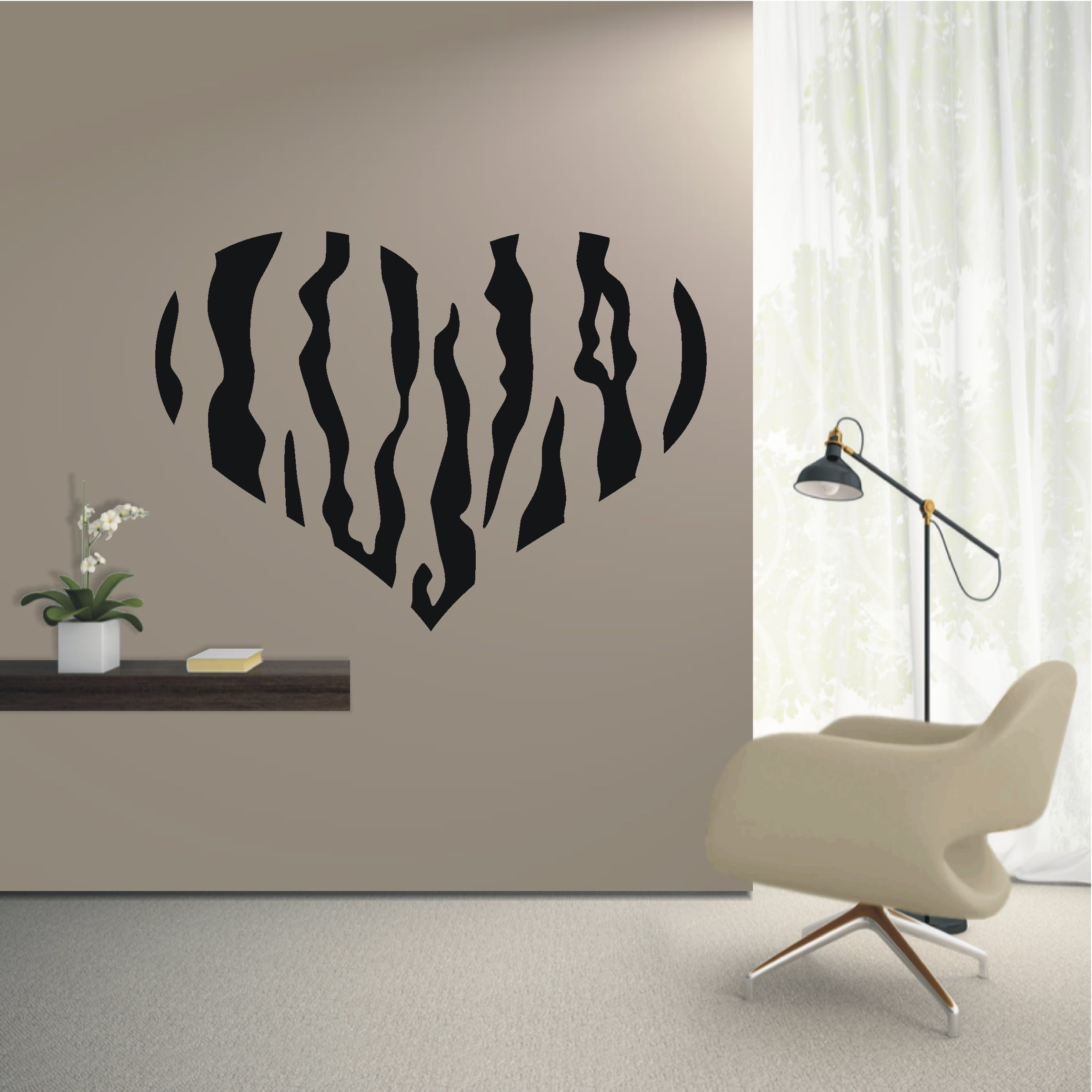 deko shop wandtattoo tiger herz deko shop. Black Bedroom Furniture Sets. Home Design Ideas