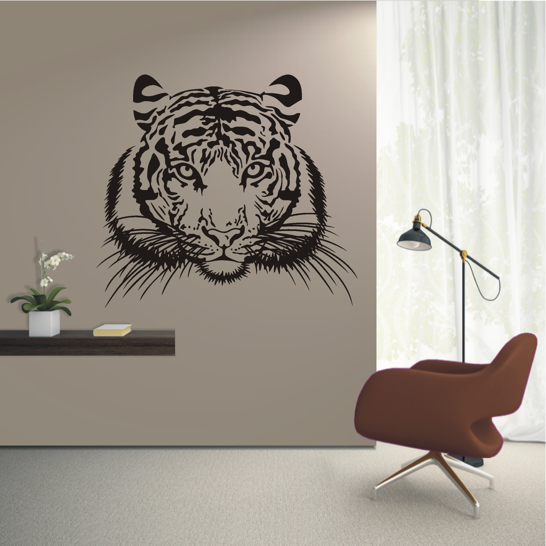 deko shop wandtattoo tigerkopf deko shop. Black Bedroom Furniture Sets. Home Design Ideas