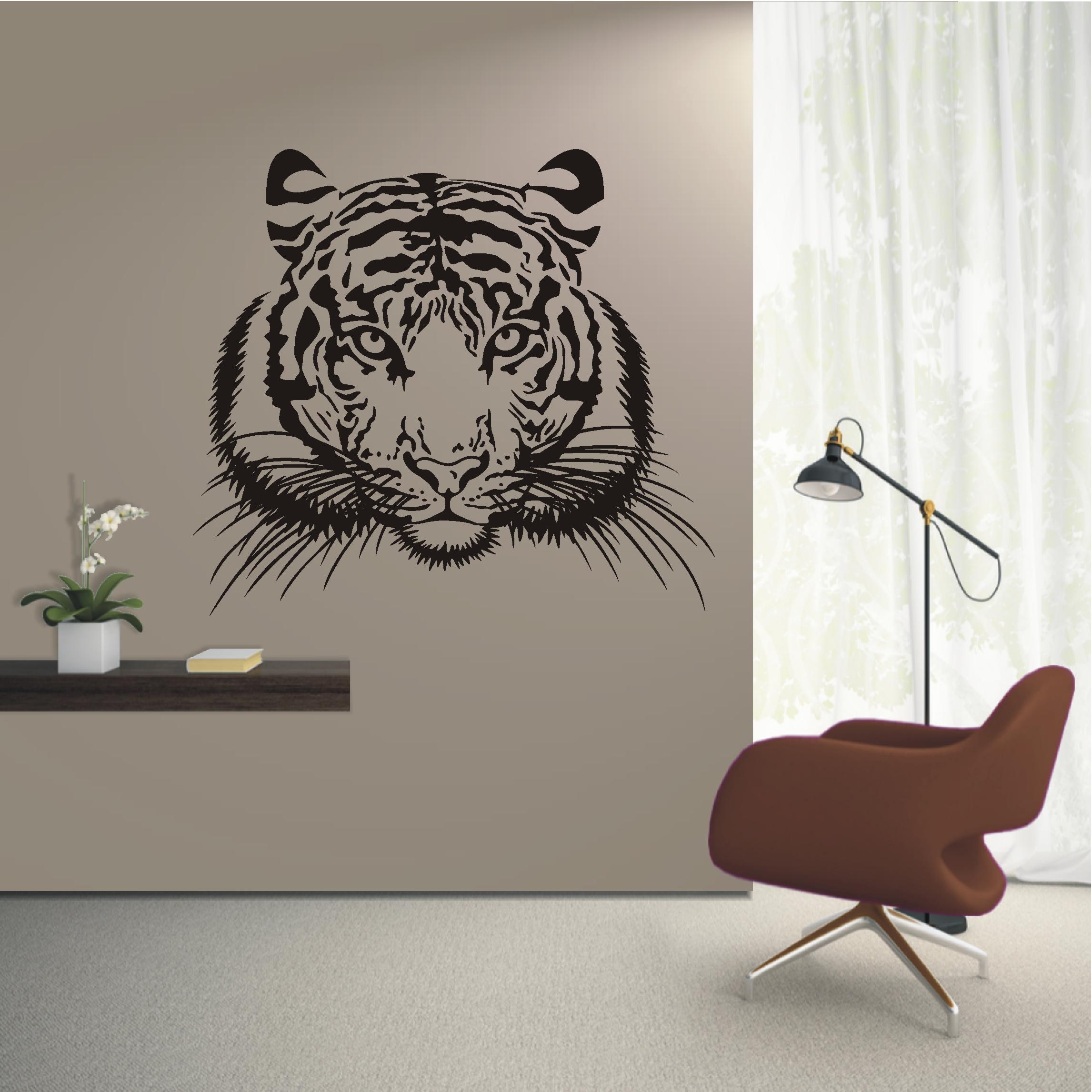 Deko shop wandtattoo tigerkopf deko shop for Wandtattoo kinderzimmer tiere