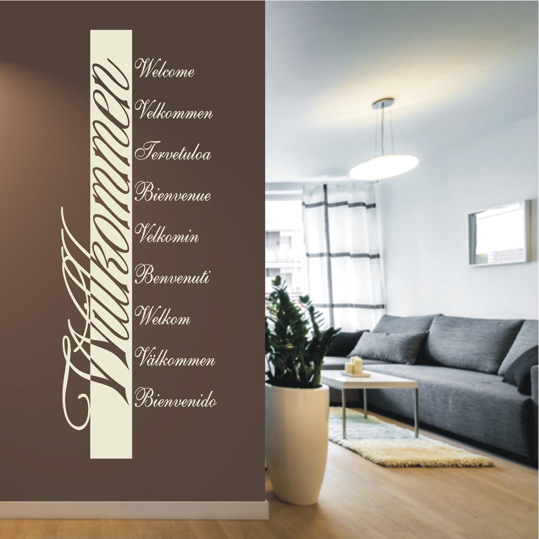 Wandtattoo Wortwolke Welcome SprachenWillkommen Welkom Velkommen KLEBEHELD®